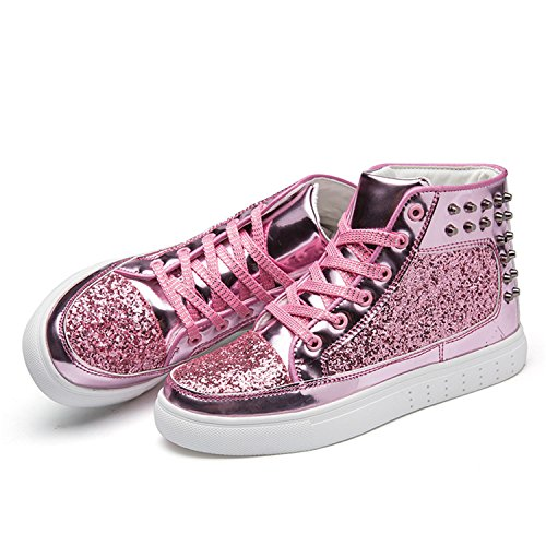 2018 Fashion Pink Flats Spring Leather Shiny Shoes Pink Shoes Casual Rivet Women Silver Design Nerefy Sequins dHnZF5WxXn
