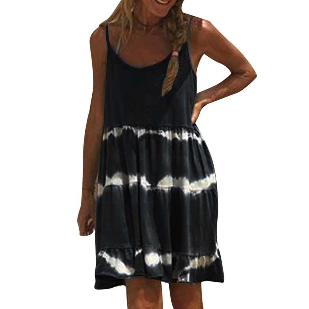 VEZAD Sleeveless Tie-Dye Dress Women Casual Camisole Chiffon Boho Sexy Mini Dresses Black
