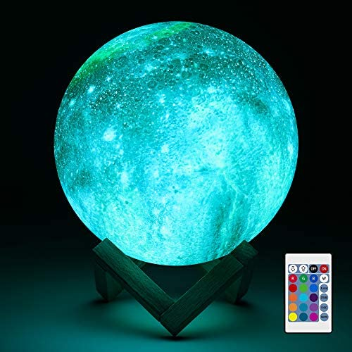 Aodue Galaxy Moon Lamp, Kids Night Light, 7 inch 16 Colors LED 3-D Galaxy Lamp with Wood Stand, Remote and Touch Control, USB Rechargeable Gift for Baby Girls Boys Birthday