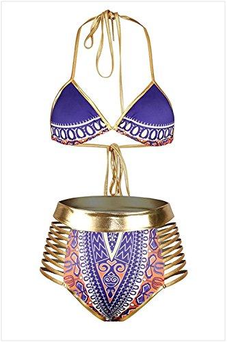 bagno Costume straps Split da Drawstring Bikini M Mme Purple Creux Moojm TPU6qP