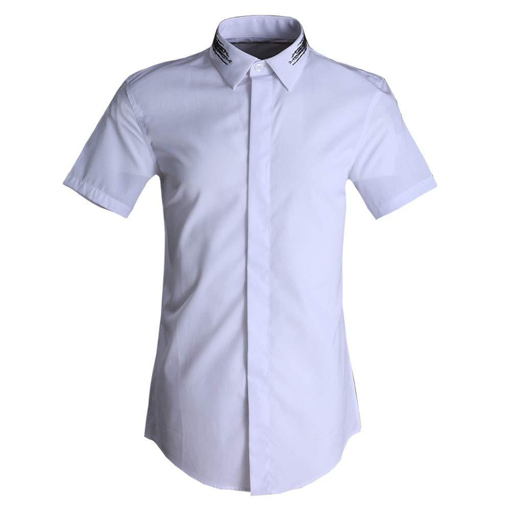 Blanc XX-grand Susulv-MCL Chemise Homme Chemises habillées à Manches Courtes à Coupe ajustée pour Hommes Chemise d'été en Coton à Manches Courtes Chemise à Manches Courtes en Coton Chemises Décontracté