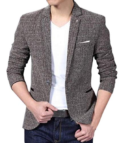 Blazer Mens Long Sleeve Dress Button Khaki Sodossny One Fit AU Jacket Formal Slim Hwnvp