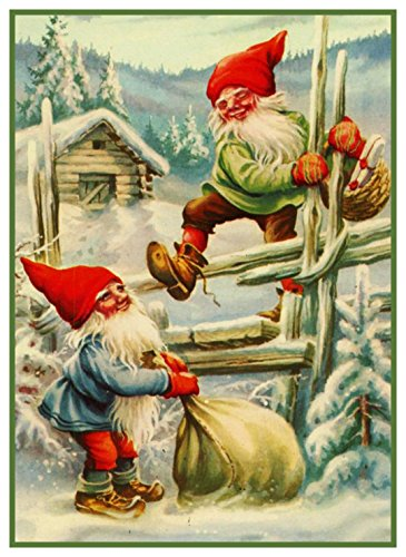 Orenco Originals 2 Elves on Fence Jenny Nystrom Holiday Christmas Counted Cross Stitch ()
