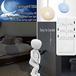 Enerlites HET06A 1-5-10-15-20-30 Minutes Preset In-Wall Countdown Timer Switch, w Decorator Wall Plate, White