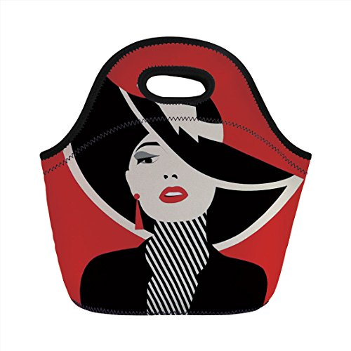 Neoprene Lunch Bag,Girls,French Style Icon in Shabby Chic Classical Vintage Hat and Striped Coat Design Print,Red Black,for Kids Adult Thermal Insulated Tote ()