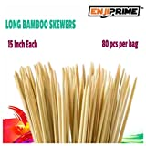 "Enji Prime Best Marshmallow Roasting Sticks With 80 bamboo barbecue shrimp bbq kabob shish kebab smores skewers 15"" Long Great Fondue Skewers & Hot Dog Roasting Sticks Disposable Nontoxic All Natural offers"