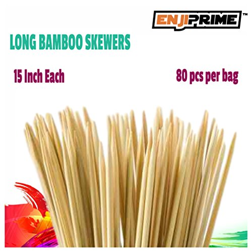 [Enji Prime Best Marshmallow Roasting Sticks With 80 bamboo barbecue shrimp bbq kabob shish kebab smores skewers 15