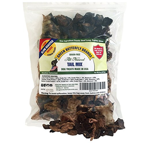 Green Butterfly Brands Tail Mix - Dog Treats Made in USA Only - All Natural Beef Bites - 1 Ingredient Grain Free Assortment - Beef Lung, Trachea and Spleen - Dog Treats for Training, 8 Ounces -
