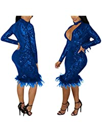 Womens Autumn Sexy Choker Deep V Neck See Through Sequins Bodycon Solid Party Club Midi Dress