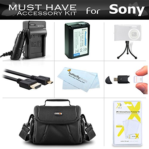 Must Have Accessory Kit For Sony Alpha a6000, a6300, a6500, a5100, a5000, a7 Interchangeable Lens DSLR Camera Includes Replacement NP-FW50 Battery + Ac/Dc Charger + Micro HDMI Cable + Case + More