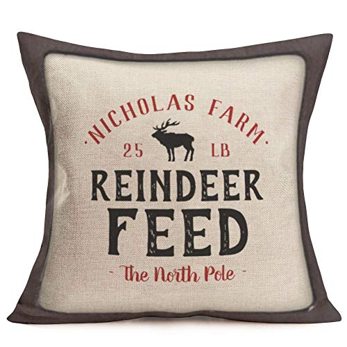Smilyard Vintage Quote Reindeer Feed Farmhouse Throw Pillow Covers Cotton Linen Animal Pattern Decorative Pillow Case Cushion Cover Rustic Farm Home Decor for Sofa Couch 18x18 Inch ()