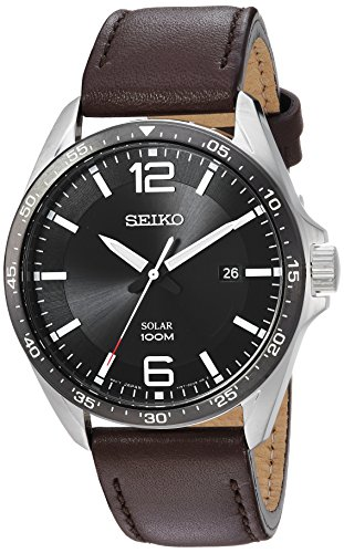 (Seiko Men's Sport Watches Stainless Steel Japanese-Quartz Leather Calfskin Strap, Brown, 22 (Model: SNE487))