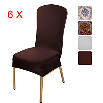 Stretchy Chair Slipcovers 6 Pieces, ISWEES Removable Washable Dining Room  Stool Office Short Chair Covers