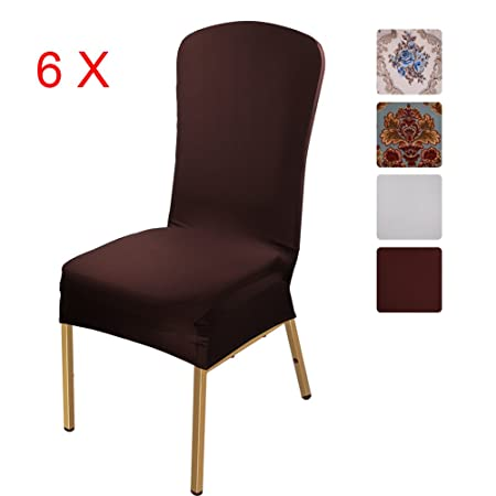 Charmant ISWEES Stretchy Chair Slipcovers 6 Pieces, Removable Washable Dining Room  Stool Office Short Chair Covers