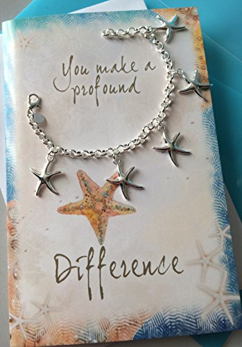 Starfish Bracelet (Smiling Wisdom - Starfish Charm Bracelet Gift Set - You Make a Profound Difference Thank You Card - Show Admiration, Gratitude, Appreciation to Teacher, Mentor, Sister, Mother, Friend - Silver)