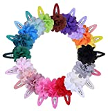 ShungFun Cute Flower Chiffon Hair Bow Clips Non-slip Hair Clips Hair Barrettes Hair Bows Hair Snap Clips for Little Girls Baby Kids Keens Children Toddlers Women (Set of 20pcs)