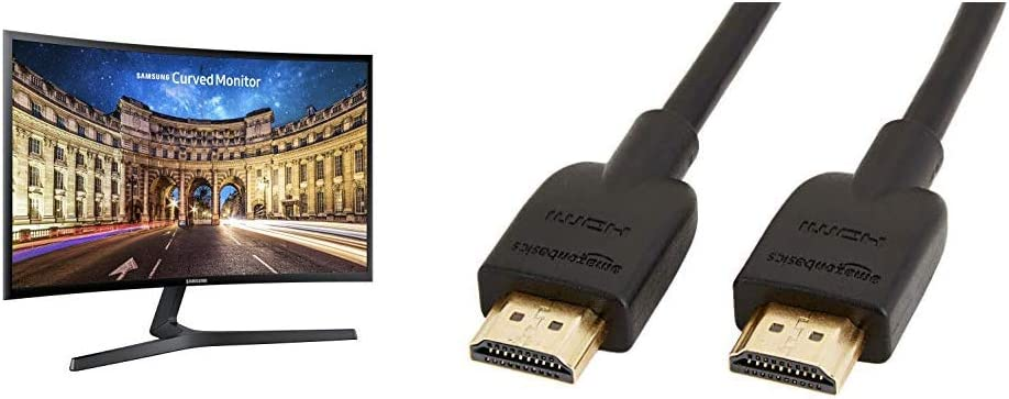 """Samsung Electronics LC27F398FWNXZA Samsung Electronics C27F398 27"""" Curved Monitor & AmazonBasics High-Speed 4K HDMI Cable, 6 Feet, 1-Pack"""