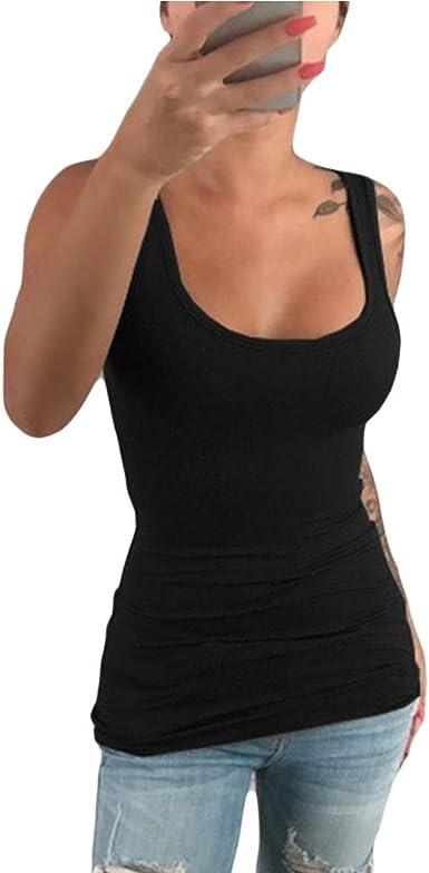 Kcibyvx - Camiseta de tirantes para mujer, de algodón, elástica, sin mangas, cuello en U, tallas S-5XL: Amazon.es: Ropa y accesorios