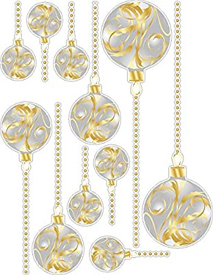 Silver And Gold Christmas Ornaments Wall Decals Removable and Repositionable Holiday Stickers