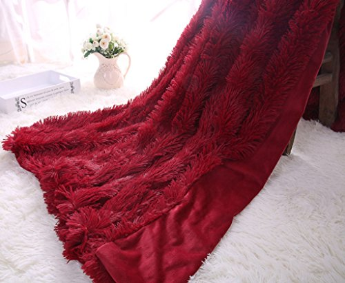 Soffte Cloud Super Soft Long Shaggy Warm Plush Fannel Blanket Throw Qulit Cozy Couch Blanket for Winter Twin - Peach Burgundy And
