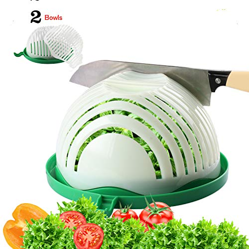 Salad Cutter Bowl with 2 Strainers Kitchen Salad Chopper with Cutting Board for Fresh Vegetables Fruits Fast Salad Maker in 60 Seconds Upgraded Family Sized Safe Salad Slicer with Gift Box