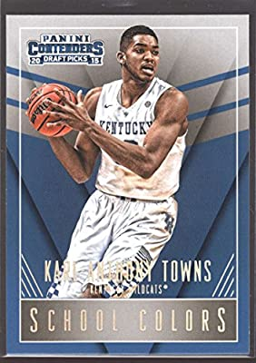 2015-16 Contenders Draft Picks School Colors Basketball #24 Karl-Anthony Towns Kentucky Wildcats Official NCAA Trading Card made by Panini
