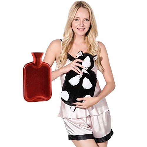 Cat Hot Water Bottle (Peterpan Classic Rubber Hot Water Bottle with Cover,2 Liter Hot Water Bag / Ice Bag,Red)