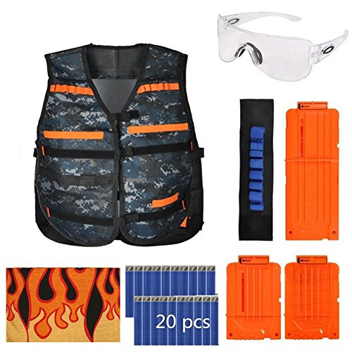 (Kid Tactical Vest Kit for Nerf Guns N-Strike Elite Series-Black Vest, 6/12-Darts Quick Release Clips, Wristband, Protective Goggles, Headwrap Mask and 20Pcs Bullet Darts(Camouflage Vest))
