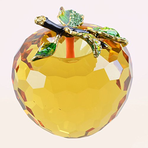 LONGWIN Faceted Crystal Apple Figurine 80mm 3.1 inch Cut Faceted Glass Paperweight Yellow