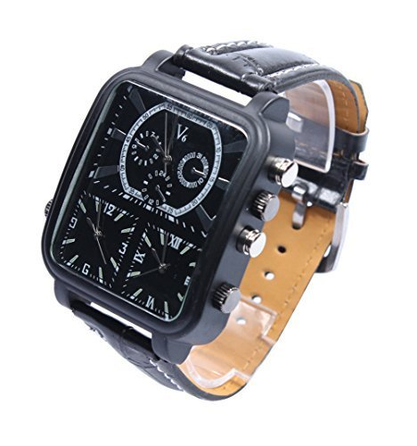 Latest V6 Men Oversize Sport Military Fashion 3 Multi Time Zone Black Quartz Wrist Watch Pocket Sport Wrist ()