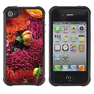 WAWU Rugged Armor Slim Protection Case Cover Shell -- begonia floral pattern purple orange -- Apple iphone 5c