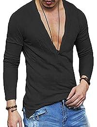 Men's Deep V Neck Slim Fit Long Sleeve T-shirt Blouse