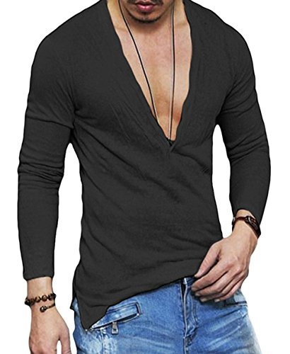 Men's Deep V Neck Slim Fit Short Sleeve T-Shirt Tee Tops