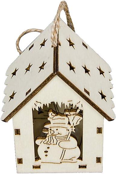 Vintage Adornos Navidad Madera con Luz Decoracion para Mesa Arbol ...