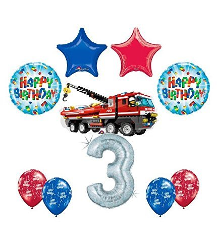 10 pc LEGO CITY Fire Engine Firetruck 3rd Birthday Fire TruckParty Balloon Decorating Supply Kit]()