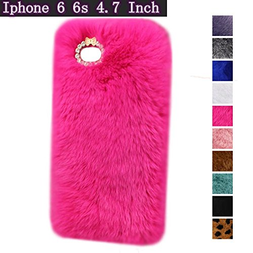 iPhone 6 6s Case, Fast Jewelry? Bling Crystal Rhinestone Design Fashion Colour Fluffy Soft Genuine Rex Rabbit Fur Winter Warm Case for Apple iPhone 6 4.7 Inch - Rose Red