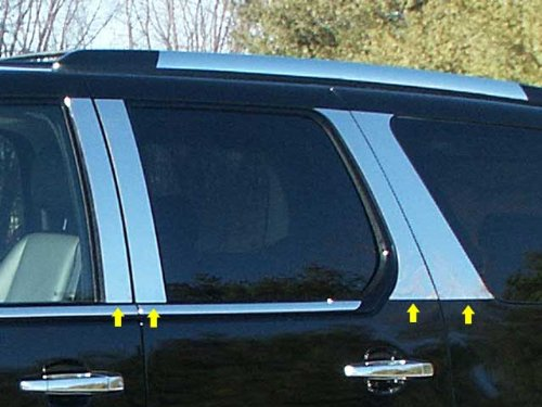 8 Pc: Stainless Steel Pillar Post Trim Kit, 4-Door, SUV, Does NOT Fit ESV or EXT PP47257 QAA FITS Escalade 2007-2014 Cadillac