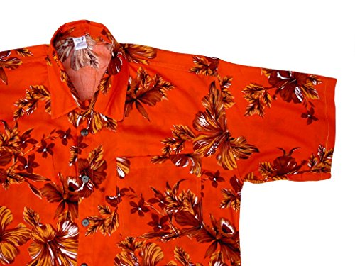 Hawaiihemd Hawai Freizeit Hemd Shirt Viskose orange Hibiskus groß