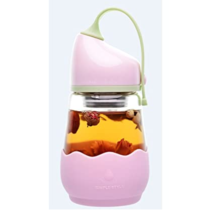 Fyuan Botella de Agua de Vidrio 360ml, Funda de Silicona Antideslizante con Botella de Vidrio