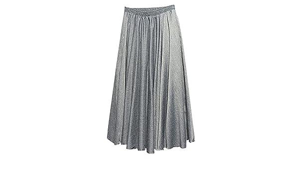 9701ebdf7 Mujeres Color Fiesta Faldas Maxi Sólido Doble Capa Cintura Elástico ...
