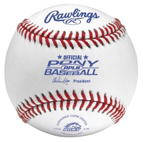 - Rawlings Raised Seam Tournament Grade Pony League Baseballs, 12 Count, RPLB