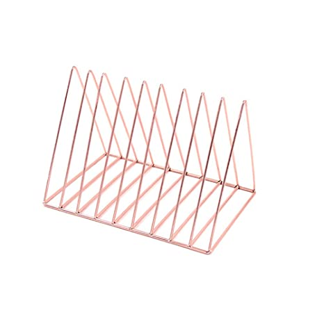 Simple Triangle Bookshelf Rose Gold Iron Desktop Storage Rack Creative  Metal Frame Magazine Holder For Home