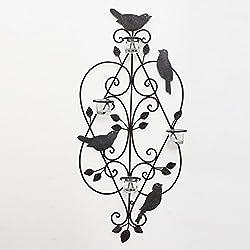 Asense Decorative Black Antique Iron Tea Light Candle Sconce with Birds (Holds 4 Tea Light Candles)