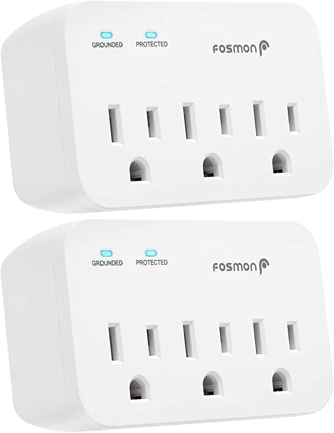ETL Listed Grounded 1200J Wall Mount Multi Plug Adapter Tap Extender 2 Pack 1875 Watts Portable Travel Size for Indoor Fosmon 3 Outlet Surge Protector Office Dorm Room Essential