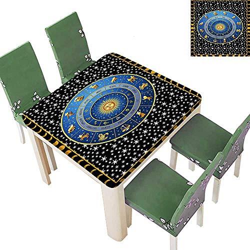 Printsonne Eco-Friendly and Safe Zodiac Calendar Sun Horoscop Cr Cent Mo Stars Digital Multi Colors & Sizes 50 x 50 Inch (Elastic Edge) ()