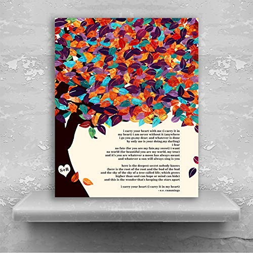 E.E. Cummings Poetry I Carry Your Heart Spring Wedding Tree Canopy Personalized Tin 10 Year Anniversary Gift #1295 Metal Print