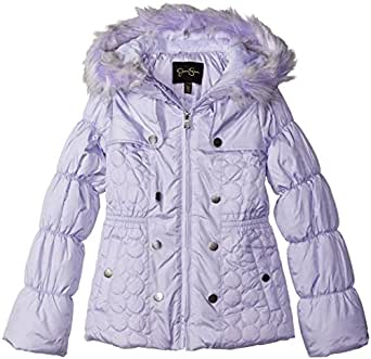 Jessica Simpson Little Girls' Toddler Heavyweight Heart Quilted Puffer, Lavender, 2T
