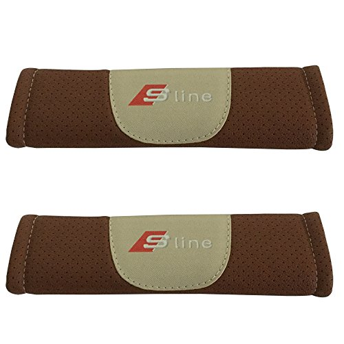 2pcs Set Sline Brown Color Car Seat Safety Belt Covers Leather Shoulder Pad Accessories Fit for Audi A3 A4 A5 A6 A7 A8 Q3 Q5 Q7 Q8 (A8 Set Audi)