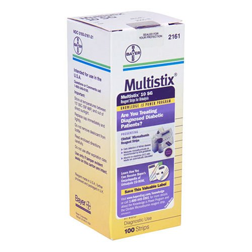 Multistix 10 S G Reagent Strips for Urinalysis, Tests for 10 separate reagents in Urine, 100 by Multistix