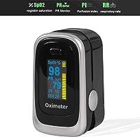 WINSUNY Oxímetro de Pulso Pulsioxímetro de Dedo y Monitor de Frecuencia Cardíaca,PI (Índice de perfusión), frecuencia...